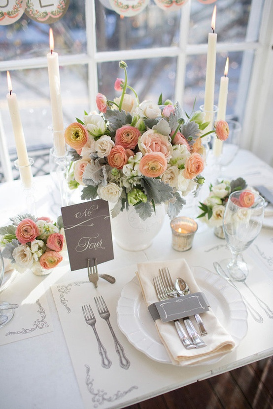 peach and grey table setting & peach and grey table setting - KC You There